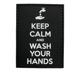 Badge KEEP CALM & WASH YOUR...