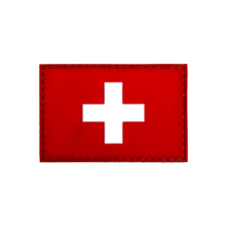 Badge rectangle SUISSE - Red