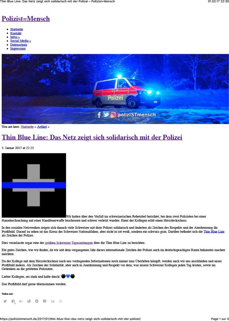 Thin Blue Line: Das Netz zeigt sich solidarisch mit der Polizei