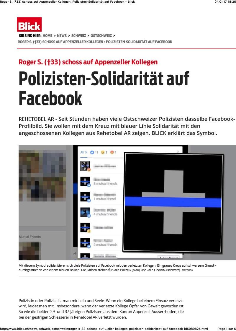 Polizisten-Solidarität auf Facebook