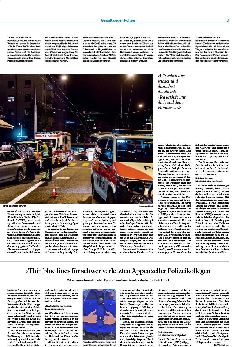 «Thin blue line» für schwer verletzten Appenzeller Polizeikollegen